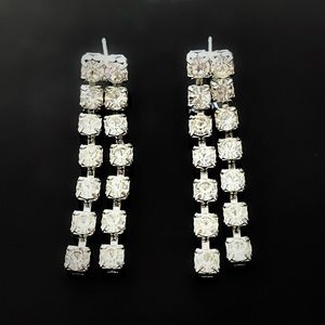 ✨Stunning VTG Custom Long Rhinestones Earrings